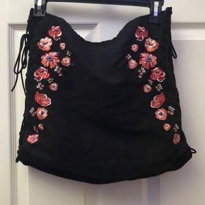 H&m floral skirt with wide ties